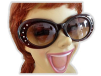 Brown Jacqueline Style Sunglasses 1950's Women Costume Accessory Tint Faux Gems