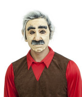 Cascarrabias Adult Latex Mask Old Man Grandpa Grey Hair Grouchy Grumpy Halloween
