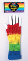 Rainbow Fishnet Fingerless Gloves Long 80s Pride Rave Roller Costume Accessory