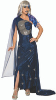 Celestial Midnight Moon Maven Adult Women's Costume Wizard Blue Velvet Gown STD