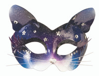 Celestial Space Kitten Masquerade Half Mask Glasses Magical Costume Accessory