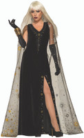 Celestial Black Velvet Dress & Cape Adult Women's Halloween Costume Wizard Witch
