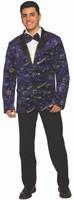 Celestial Men's Blazer & Bow Tie Adult Costume Wizard Blue Velvet Moon & Stars
