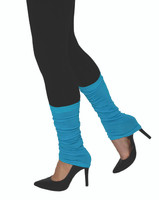 80s Neon Electric Blue Leg Warmers Slouch Retro Aerobic Dancer Costume Accessory