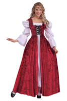 Medieval Lace up Gown Costume Dress Burgundy Velvet Adult Xl Women's Halloween