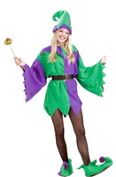 Mardi Gras Jester Adult Costume Elf Tunic Unisex Men Women Purple, Standard