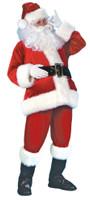 Quality Santa Claus Suit Costume Adult Boot Covers Belt Faux Fur Plus Size Std