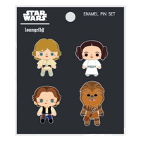 Loungefly Star Wars 4 Enamel Pin Set Licensed Leia Chewie Hans Fashion Accessory
