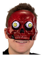 Red Demon Skull Half Mask Googly Wiggly Bobble Eyes Halloween Costume Accessory