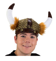 Viking Warrior Helmet Hat with Faux Fur Costume Accessory Horns Adult Men Women