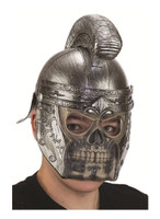Silver Roman Skull Faced Helmet Gladiator Adult Halloween Party Costume Prop