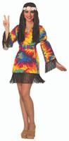 Women's Hippie Tie Dye Costume Fancy Dress Fringes Adult One Size 14/16