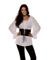 White Renaissance Blouse Top Shirt Gypsy Peasant Pirate Women's Costume SM-XL