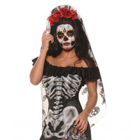 Day of The Dead Mantia Headpiece DOD Sugar Skull Headband Veil Costume Accessory