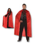 Velvet Red Cape With Collar Adult Men Women Halloween Costume Accessory Vampire
