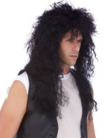 High Quality Heavy Metal 80's Hair Bands Black Curly Adult Costume Wig Rock Star