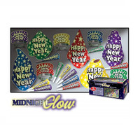 Midnight Glow In The Dark Happy New Year Party Supply Kit Hats Tiaras Horns 10p