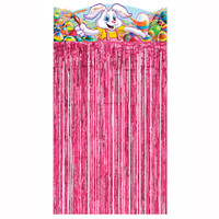 Pink Easter Bunny Rabbit Doorway Tinsel Foil Curtain Backdrop 1pc. Decoration