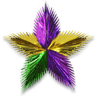 "24"" Mardi Gras Leaf Starburst Party Decoration Metallic Gold Purple Green 1/PK"