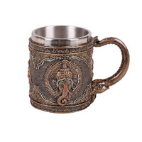 Ganesha Hindu God Collectible Resin Mug Stainless Steel Indian Art Elephant