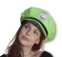 Neon Green Party Police Hat w Badge Fun Glow Rave Festival Hen Adult Accessory