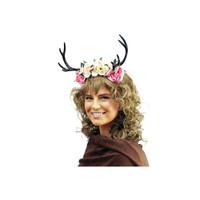 Pink Floral Deer Antlers Headband Mystical Creature Fairy Animal  Horns Adult