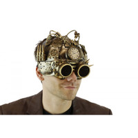 Gold Steampunk Helmet Style Adult Half Mask with Goggles Compass LED Lights-Up