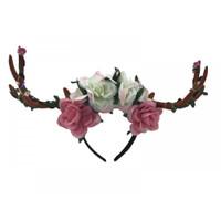 Floral Deer Antlers Headband Mystical Creature Fairy LIGHTS-UP Brown Horns Adult