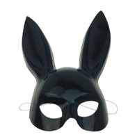 Black Bunny Rabbit Plastic Half Mask Adult Animal Easter Costume Accessory Hare