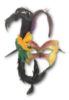 Mardi Gras Venetian Styled Mask Feathers Gems Masquerade Costume Accessory R