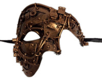 Steampunk Copper Phantom Style Half Face Mask Men's Masquerade Costume Accessory