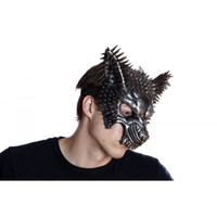 Silver Spiked Wolf Half Mask Adult Animal Angry Dog Venetian Costume Accessory
