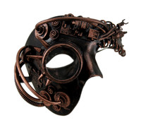 Copper Steampunk Phantom Half Mask with Spiked Goggle Masquerade Cybot Robot