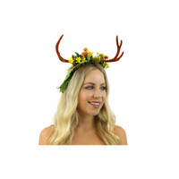 Mother Nature Floral Deer Antlers Headband Mystical Creature Fairy Horns Adult
