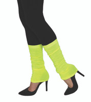 80s Neon Yellow Leg Warmers Slouch Retro Aerobics Dancer Costume Accessory