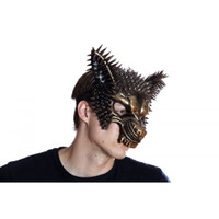 Gold Spiked Wolf Half Mask Adult Animal Angry Dog Venetian Costume Accessory