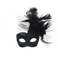 Black Lace Venetian Wing Mask w Feathers Masquerade Mardi Gras Costume Accessory