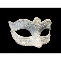 Glittery Snow White Half Eye Mask Masquerade Venetian Costume Accessory