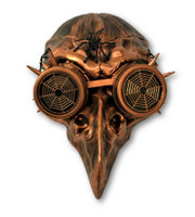 Copper Steampunk Crow Skull Birdman Masquerade Mask w Goggles Black Death Plague