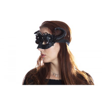 Midnight Black Steampunk Fancy Eye Mask w Horns Flowers Adult Mystical Creature