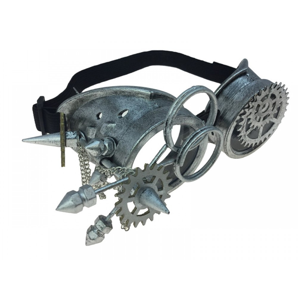Steampunk Eye Patch Goggle Antique Silver Victorian Costume Acc Mens Cyber Adult