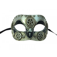 Venetian Steampunk Eye Mask Adult Gears Masquerade Costume Accessory Silver