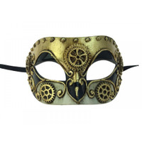 Venetian Steampunk Eye Mask Adult Gears Robot Masquerade Costume Accessory Gold