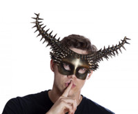 Antique Gold Spiked Studded Demon Masquerade Mask BDSM Punk Devil Horns Adult