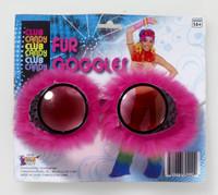 Neon Pink Fur Steampunk Goggles Cyber Punk Rave Fashion Burning Man Accessory