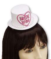 Bride To Be Mini Cocktail Top Hat Pearls Fascinator w Hair Clips Bridal Party