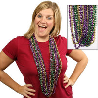 12 Mardi Gras Beads Necklaces Metallic Purple Gold Green Assorated Styles 12/PK