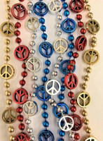Peace Sign Mardi Gras Beads Beads Hippie 60s Necklaces Metallic 4 pcs.