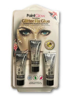 Paint Glow Glitter Fix Gel Powder Glue Primer Festival Rave Wear 3x 13ml Tubes