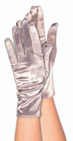 Silver Satin Short Adult Gloves Theatrical Fashion Halloween Costume Accessory